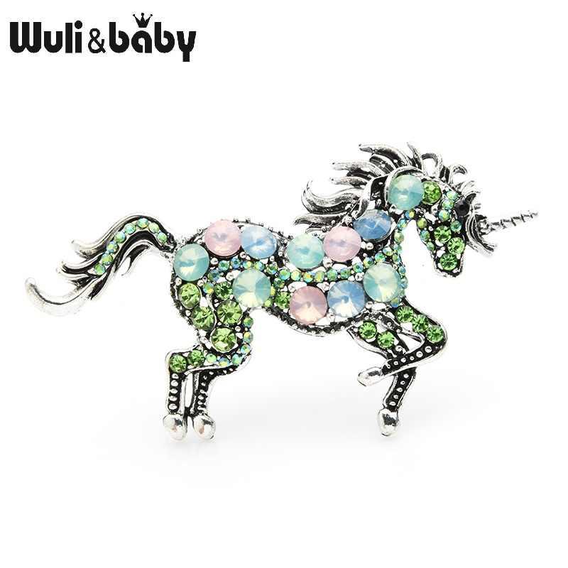 Wuli & del bambino Strass Unicorno Spille Donne Della Lega Animale Cavallo Matrimoni Banchetti Spille Regali di Capodanno