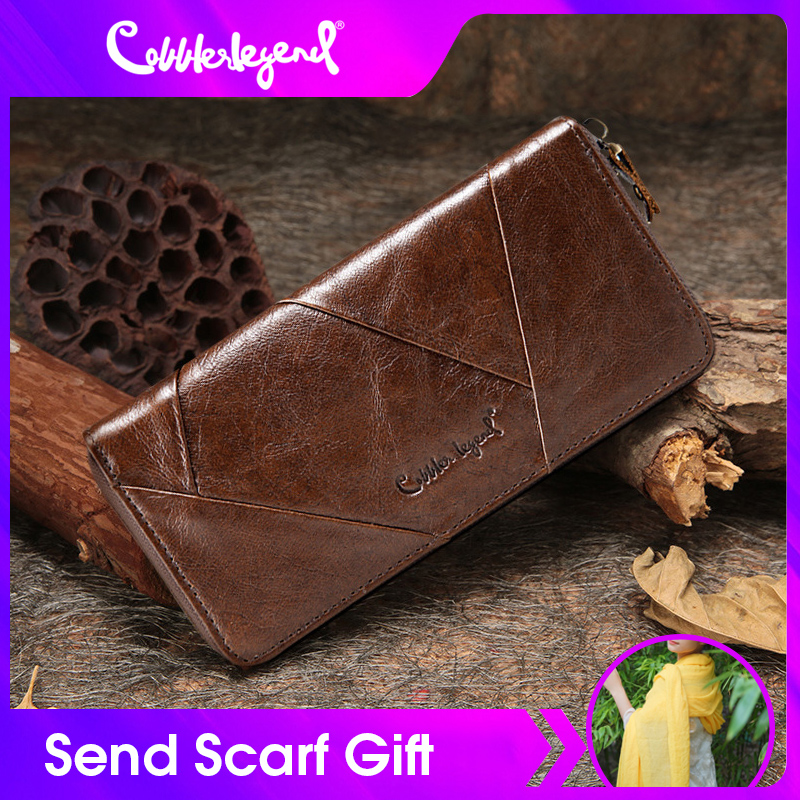 Cobbler Legend 2019 New Retro Women's Wallets For Lady Genuine Leather Zipper Wallet For Girls Long Coin Card Purses  For Woman