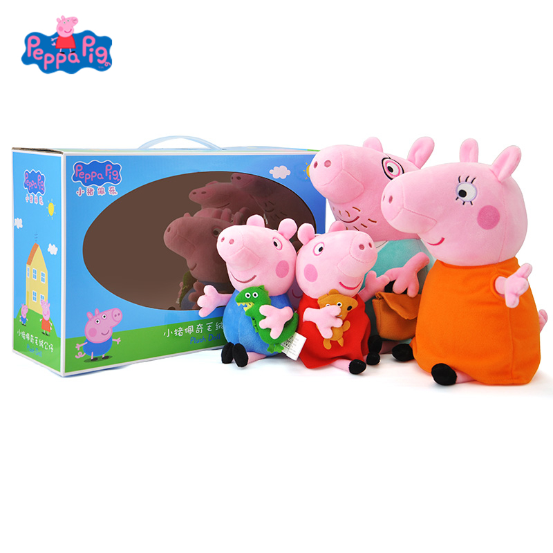 원래 peppa 돼지 4 세트의 가족 만화 인형 봉제 인형 인형 조지 친구 가족 파티 어린이 생일 크리스마스 선물