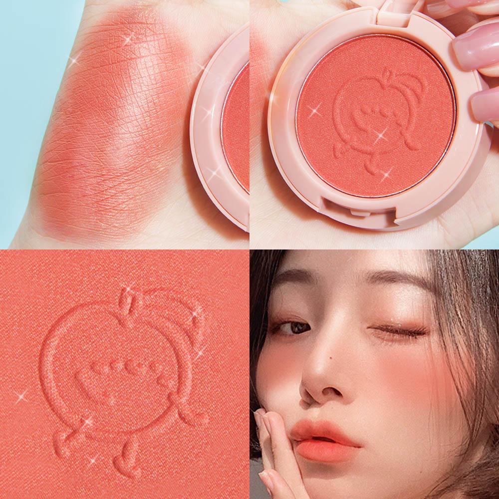 SANIYE 6 colores Blush maquillaje paleta de polvos minerales polvo rojo Rouge duradera crema Natural mejilla tinte naranja ROSA MELOCOTÓN coreano colorete