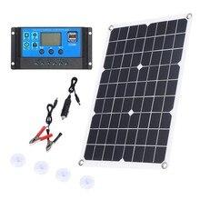 100w painel solar 12v carregador de bateria kit 50a controlador para caravana van barco duplo usb
