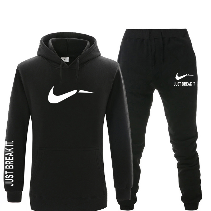 New Men Sets Tracksuit Brand Printed Warm Fleece Hoodies Sets Fashion Hooded Sweatshirts Hoodie+Sweatpants Sportswear Set Winter