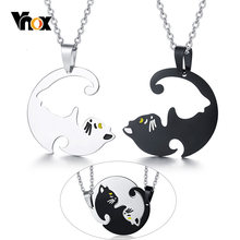 "Vnox Cute His and Her Couples Necklaces Stainless Steel Beloved Pet Cat Pendant Colar Gifts Free O Chain 20""(China)"