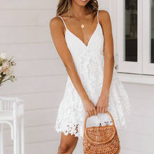 lace patchwork dress v neck spaghetti strap dress summer women prom chic dress plus size summer women white cotton beach dress(China)