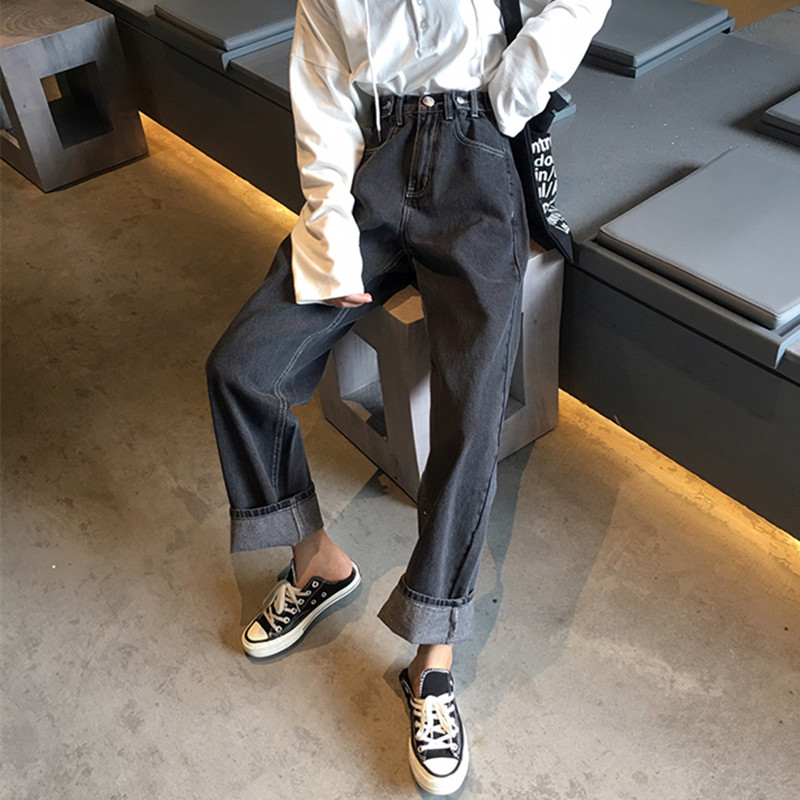 Mooirue Boyfriend Jeans For Women Solid Straight Harajuku Streetwear High Waist Casual Vintage Korean Style Women Denim Pants in Jeans from Women 39 s Clothing