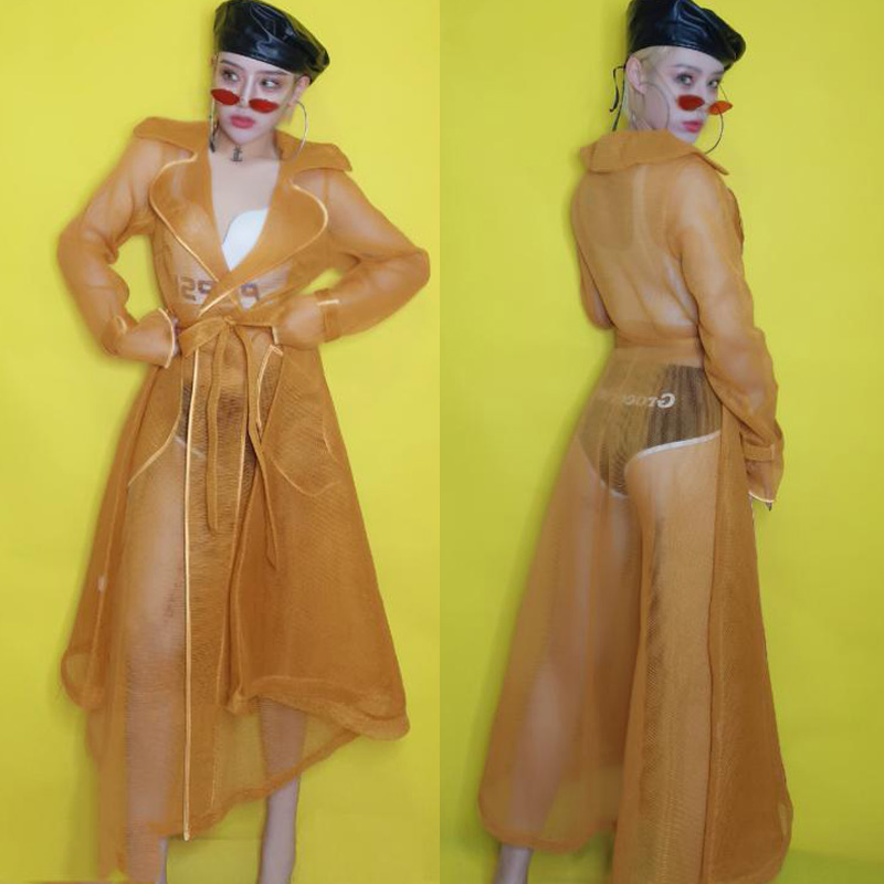 Ds Costumes Bar Female Singer Stage Net Coat Jacket Nightclub Dj Jazz Pole Dance Clothing Suit Festival Outfit Rave Wear DN4360