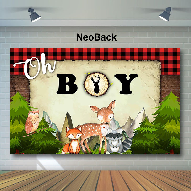 Lumberjack Baby Shower Photography Backdrop Oh Boy Red Black Plaid Background Camping Animal Pine Trees Photo Backgrounds in Background from Consumer Electronics