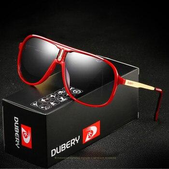 Gafas de sol polarizadas clásicas para hombre de DUBERY, gafas de sol negras cuadradas para conducir para hombre, gafas de sol en 7 colores masculinas, modelo 107
