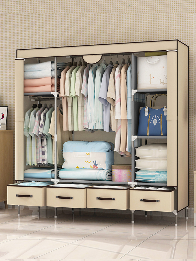 Wardrobe Simple Cloth Wardrobe Steel Pipe Bold Reinforcement Economical Thickening Simple Fabric Multi-coating All Steel Frame