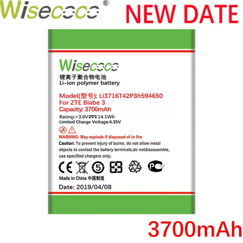 Wisecoco Li3716T42P3h594650 3700mAh New <font><b>Battery</b></font> For <font><b>ZTE</b></font> U970 v807 V930 U930 N970 <font><b>V970</b></font> V889S V889M U795high quality Phone <font><b>Battery</b></font> image