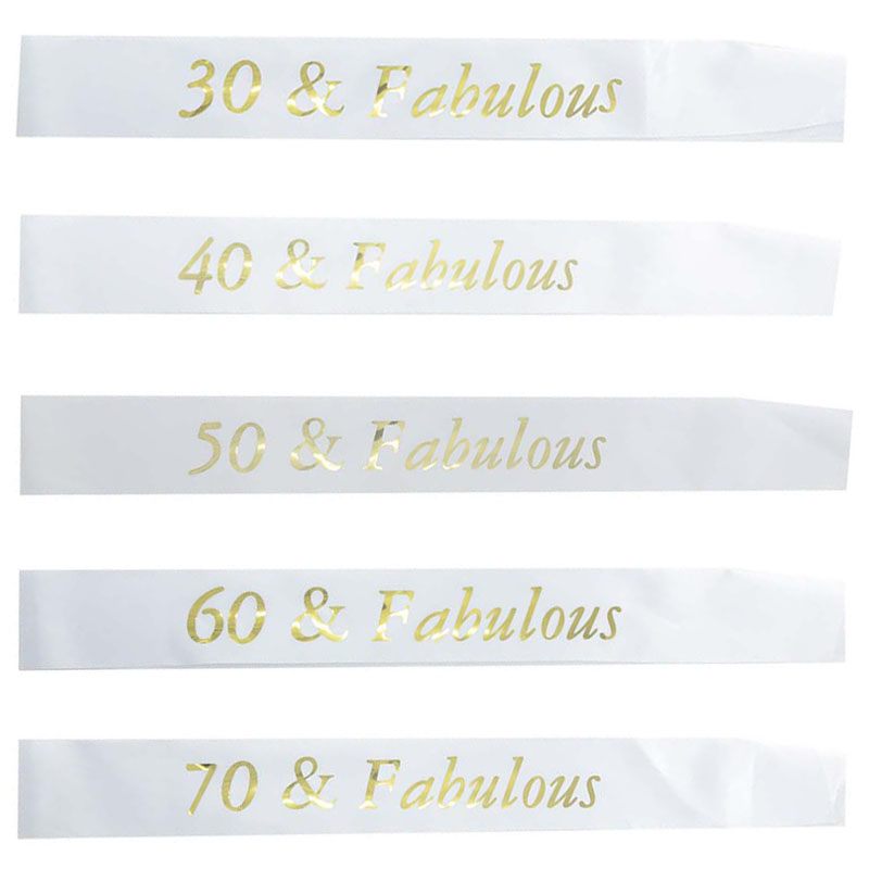 White <font><b>Birthday</b></font> Sash Gold 30 40 50 60 70 & Fabulous Sash for Women 30th 40th 50th 60th <font><b>70th</b></font> <font><b>Birthday</b></font> Party Decoration Favor Gifts image