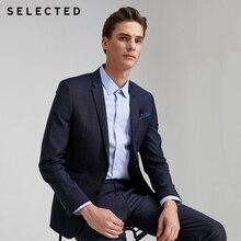 SELECTED Men's 100% Wool Plaid Jacket Business Casual Woolen Blazer SIG 42015Z50