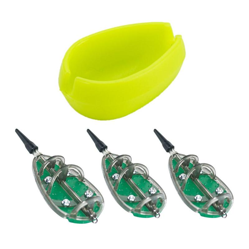 3pcs Inline Method Carp Fishing Feeders Mould Bait Basket Set Outdoor Fishing Tackle Equipment Tool 30g+40g+50g