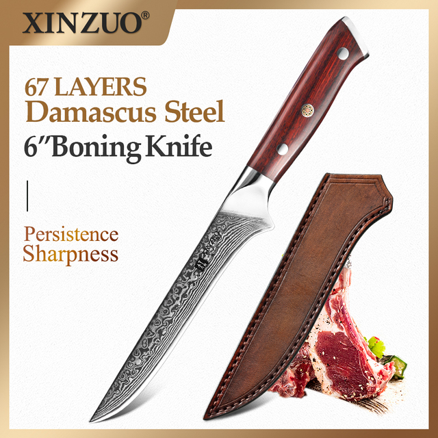 XINZUO 6 inch Eviscerate Knife Japan style Damascus Steel Kitchen Knife High Quality Boning Fillet Fish Knives Rosewood Handle