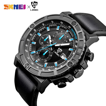 цена Fashion 30M Waterproof Men Sports Watches Leather Strap Stopwatch Male Quartz Wrist Watch Clock Relogio Masculino ZHG161015 онлайн в 2017 году