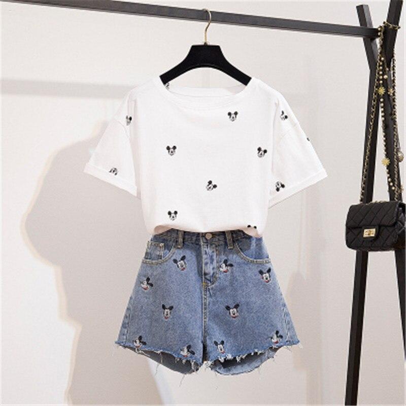 CBAFU Short Sleeve Tshirt Wide Legs Denim Shorts 2 Piece Set Cartoon Mickey Print Tops Cute Runway Embroidery Jeans Shorts F208