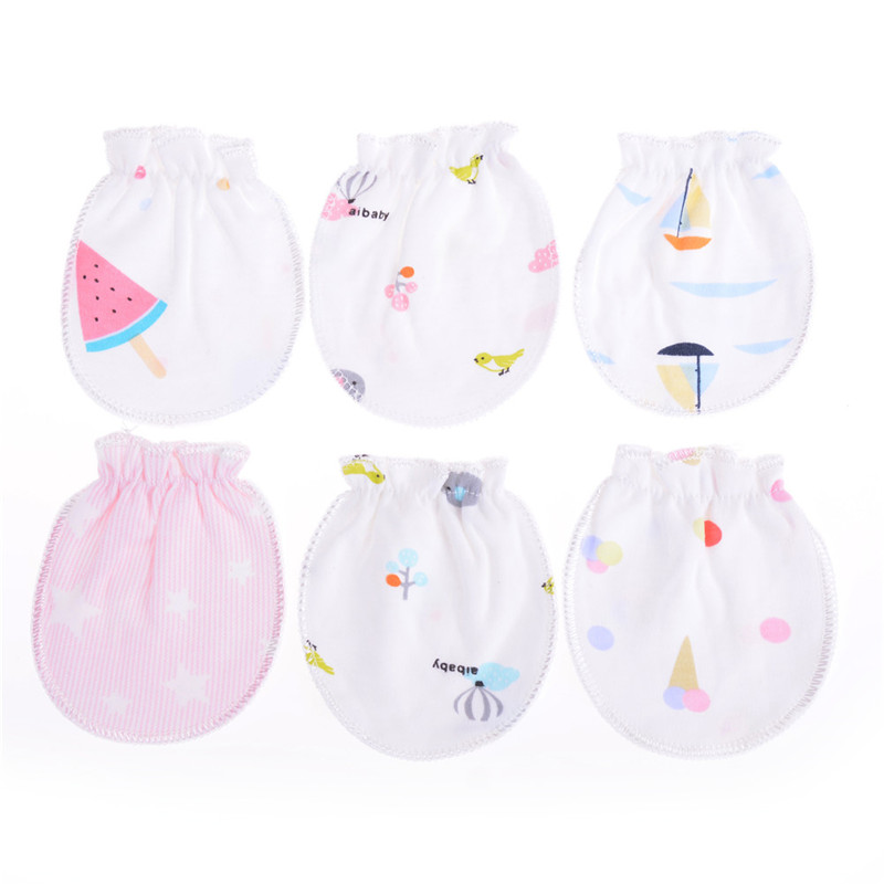 2 Pairs Cotton Newborn Mittens Handguard 0-6M Baby Infant AntiscratchingGloves H
