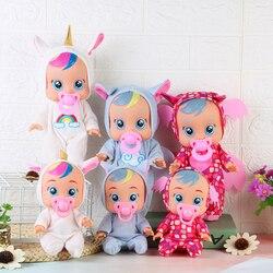 Bonito unicórnio bebês boneca adorável animal elétrico silicone bonecas brinquedo para crianças bebê bonecas com lágrimas sons presentes de aniversário brinquedos