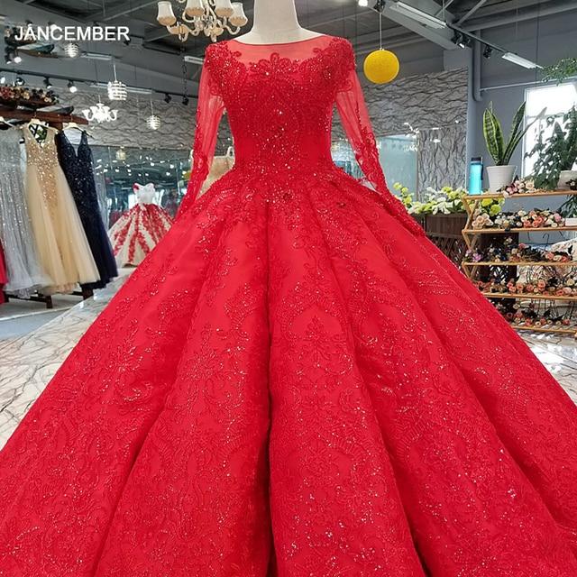 LS39411 vestido rojo largo hasta el suelo para novia, vestidos de fiesta de boda con cuello redondo, manga larga de tul con cordones en la espalda, vestido de noche plisado barato a precio real