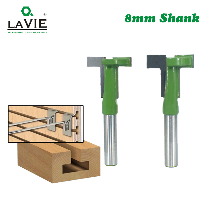 LAVIE 8mm Shank T-Slot Router Bit Milling Straight Edge Slotting Milling Cutter Cutting Handle For Wood Woodwork MC02090
