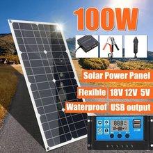 100W 18V Flexible Sunpower Semi cargador de batería de Panel Solar Kit con controlador