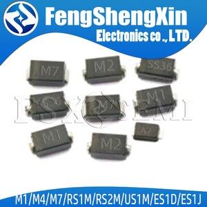 100pcs SMA Rectifier diode 1N4001 M1 1N4004 M4 1N4007 M7 FR107 RS1M FR207 RS2M HER108 US1M SF18 ES1J SF14 ES1D DO-214AC schottky