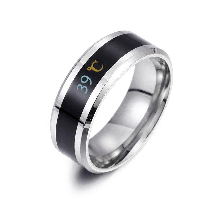 Модное кольцо 8 мм из нержавеющей стали и углеродного волокна для женщин, Индукционное кольцо для пары с температурой, Черное золото, голубо...