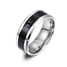 Mode 8MM Edelstahl Carbon Fiber Ring für Frauen Temperatur Induktion Paar Allianz Ring Schwarz Gold Blau Männlichen Schmuck