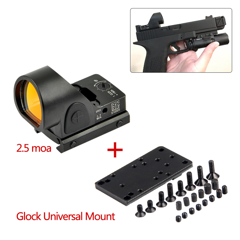 Mini RMR SRO Red Dot Scope Sight 2.5 Moa Sight Airsoft Hunting Reflex Sight With Universal Glock Mount Collimator Glock / Rifle