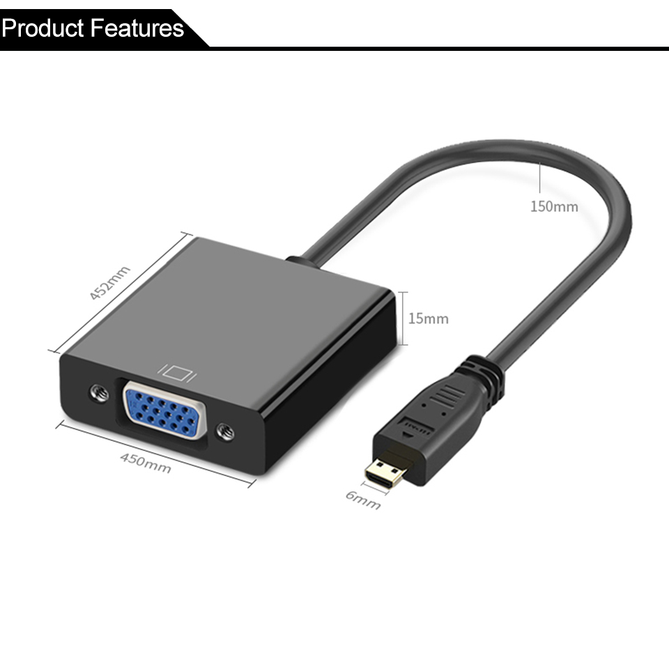 Micro HDMI to VGA Video Audio Power Supply Converter Adapter Cable For PC HDTV Display Projector 1080P Speaker PS3 (5)