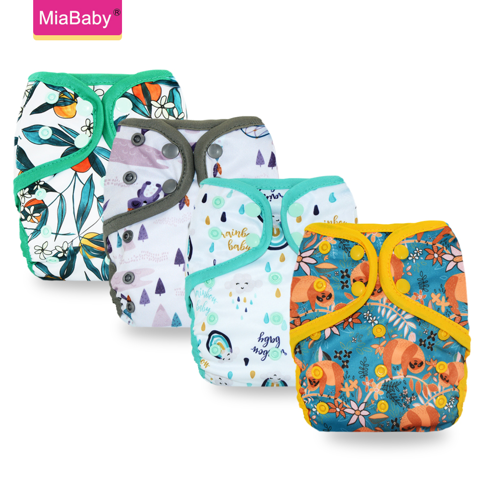 Miababy Washable Eco-Friendly Cloth Diaper Adjustable Nappy Reusable Cloth Diapers Fit 0-2years 3-15kg Baby