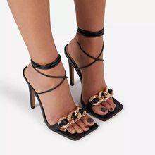 2021 neue hochhackigen frauen sandalen, metall kette riemen, karree frauen mit hohen absätzen schuhe, große größe heels 41 42
