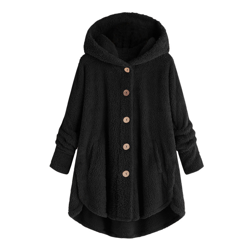 Autumn Loose Plus Size Pregnant Women 39 s Jacket Casual Hooded Solid Color Button Women 39 s Fleece Long Coat Trend Street Maternity in Coats from Mother amp Kids