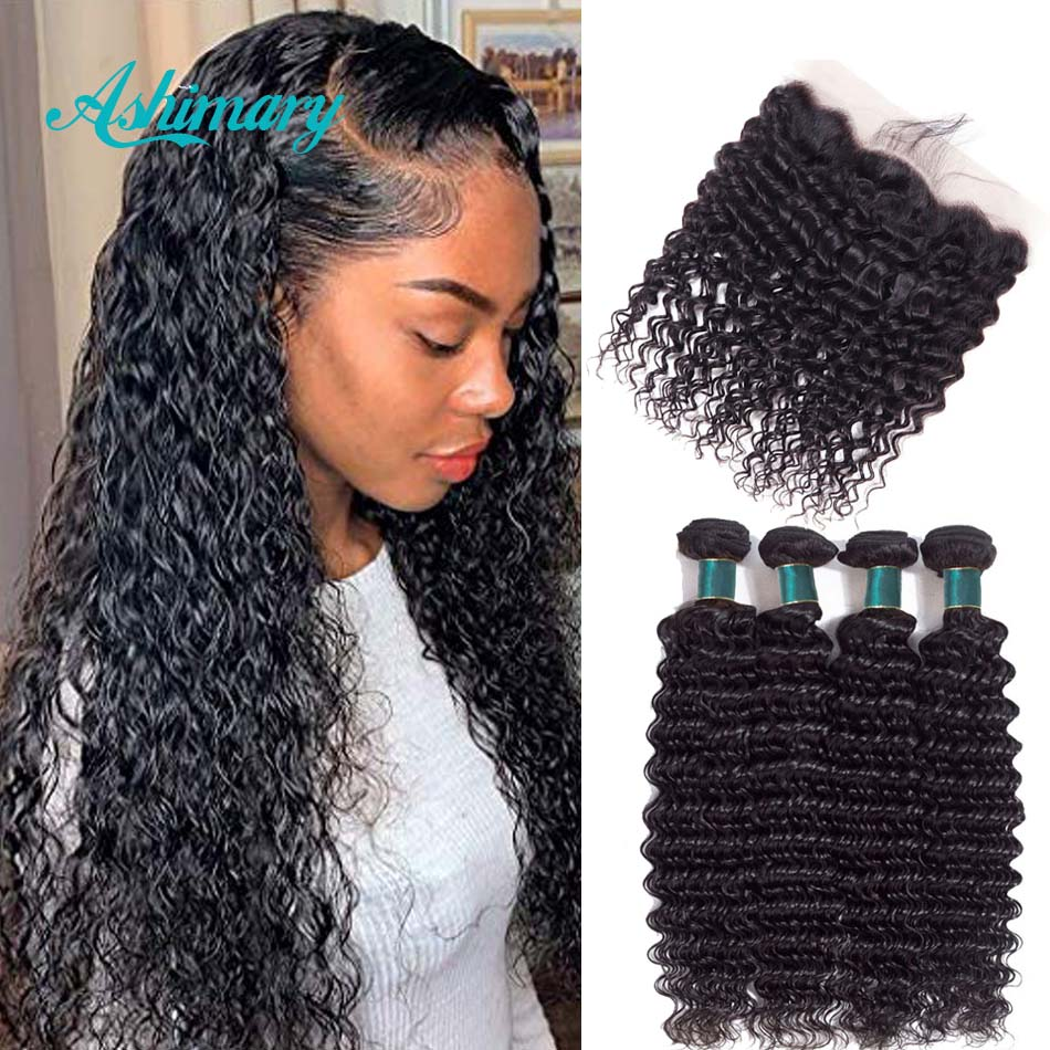 Ashimary Deep Wave Brazilian Hair Bundles With Frontal Remy Hair 3/4 Bundles With Frontal Human Hair Bundles With Lace Frontal