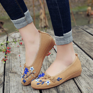 Image 4 - Veowalk Brand 3D Flowers Appliques Women Linen Slip on Ballet Flats Breathable Fabric Ladies Casual Chinese Shoes Ballerina
