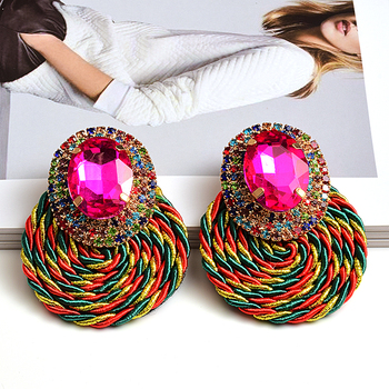 Colorful Crystal High-quality Rhinestone Handmade Round Drop Earrings 3