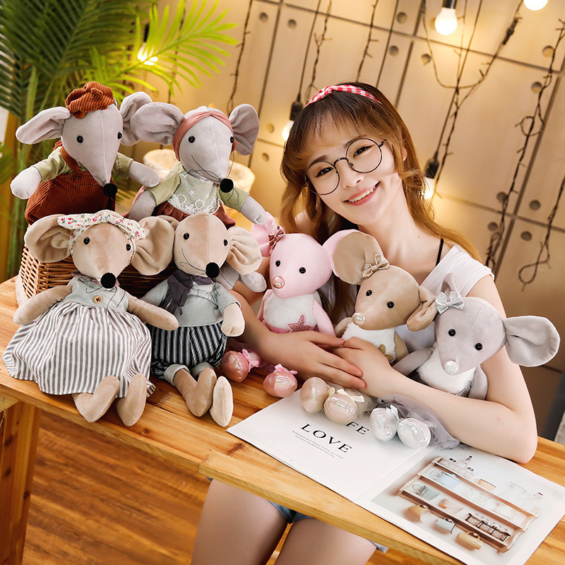 Fashionable 42 Cm Cute Cartoon Rat Burt Happy Mouse Ballet Rat Mouse Plush Toy Wedding Rag Doll Wedding Mouse Home Decoration Pe