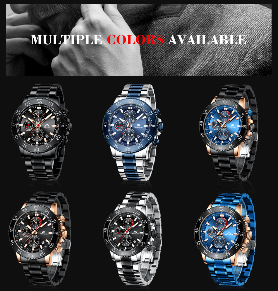 Hdcfd43fef5194cb597f16bdedecfcd3cn MEGALITH Military Watches Men Stainless Steel Band Waterproof Quartz Wristwatch Chronograph Clock Male Fashion Sports Watch 8087