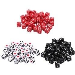 100 unids/set 8mm dados acrílicos Blanco/Rojo/negro Juego Estándar seis lados Decider cumpleaños fiestas juego de mesa dados