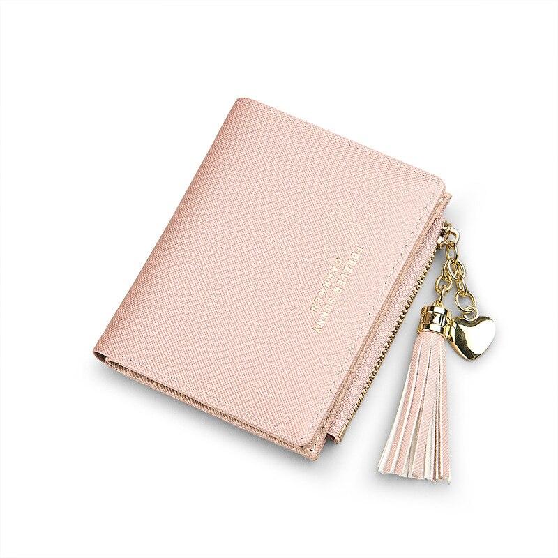 Женский кошелек с кисточками, Маленький милый кошелек для женщин, короткие кожаные женские кошельки, кошельки на молнии, портмоне, женский клатч - Цвет: Pink