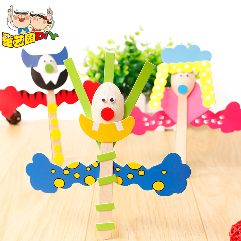 4pcs Children Cartoon Animal Wooden Spoon Toys/ Kids DIY Paper Art Craft Educational Toys For Kindergarden And School,free Ship