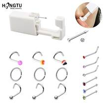 Piercing-Kit Sterile Nose Studs Body-Jewelry HONGTU Disposable Surgical Steel 20g 316L