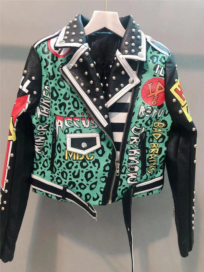Queda do Punk Jaqueta de Couro para Mulheres Cabolsa do Plutônio Graffiti Zíper Rebite Falso Verde Outono Rock Colheita Motocicleta Motociclista Jaquetas Senhoras Curto