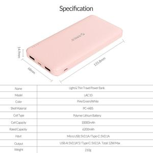 Image 5 - ORICO 10000mAh Power Bank For Travel Slim Thin Powerbank USB Type C External Battery For The Phone Portable Charger For Xiaomi