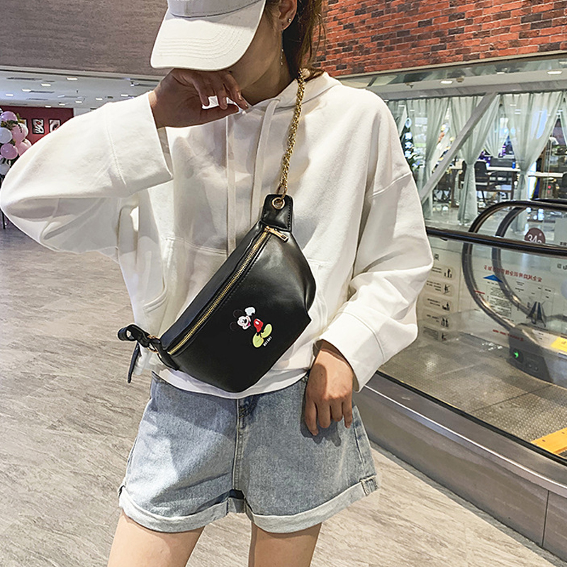 Women's Cartoon Waist Bag Cute Mickey Belt Bags Fashion Crossbody Chest Bag Female High Quality Fanny Pack Banana Hip Purse