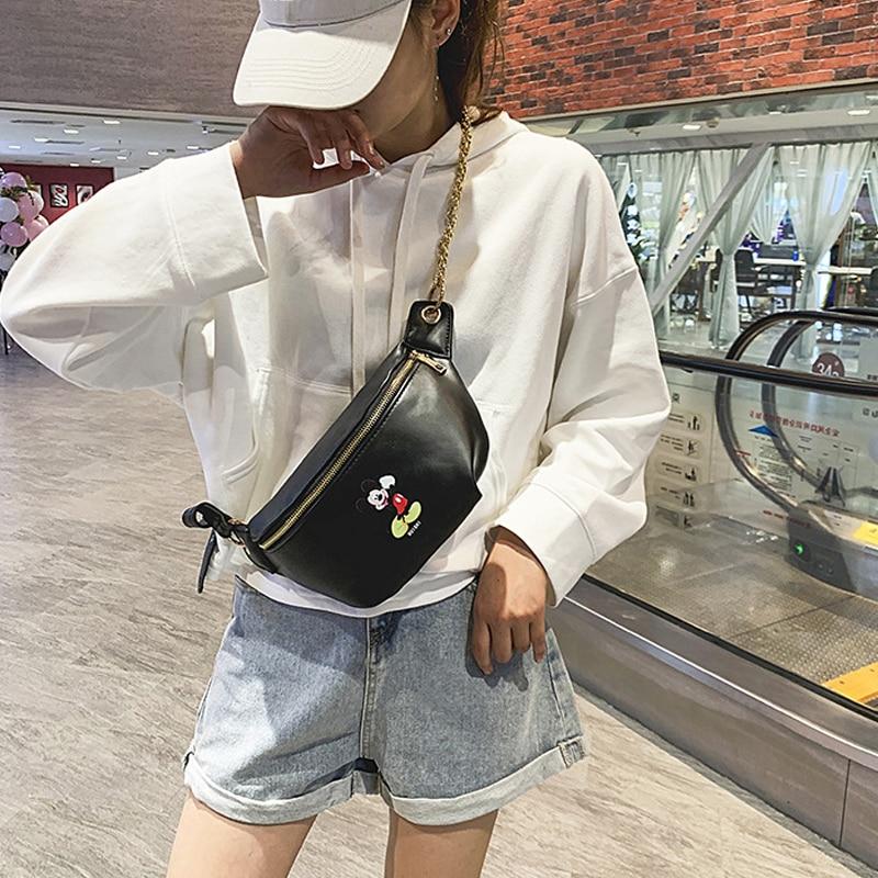Women's Cartoon Waist Bag Cute Mickey Belt Bags Fashion Crossbody Chest Bag Female High Quality Fanny Pack Banana Hip Purse