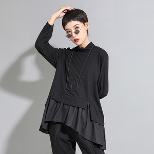 Image 2 - [EAM] Loose Fit סימטרי ראפלס סווטשירט חדש גבוה צווארון ארוך שרוול נשים גודל גדול אופנה גאות אביב סתיו 2020 1A529
