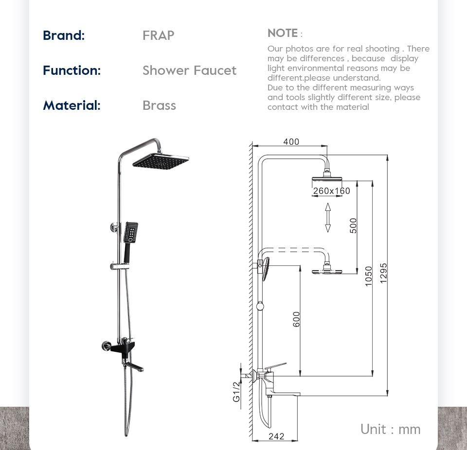 Hdcfde4ff117f4400bcf5a965d0a7861aw Frap Bathroom Faucet Black Rain Shower Head Faucet Wall Mounted Bathtub Shower Mixer Tap Shower Faucet Shower Set Mixer F2457