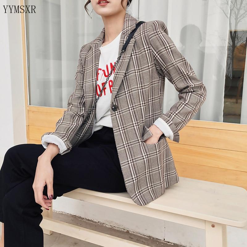 Fashion women's blazer 2020 Korean version of the new loose mid-length ladies jacket coat feminine Retro check small suit Female