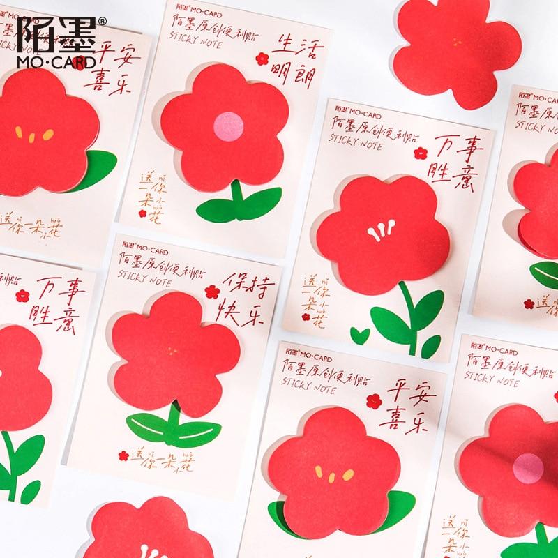 Для камеры fujifilm комплект 30 шт. маленький красный цветок в форме серии цветы из блакнота для украшения разместить его наклейки планировщик сообщение клейкая бумага для заметок, Канцтовары